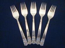SET 5 SALAD FORKS! Vintage LIFETIME CUTLERY silverplate: LCU7 pattern: EXCELLENT