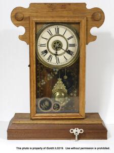 VINTAGE WOODEN MANTLE CLOCK w/ KEY Floral Motif - FOR PARTS / REPAIR