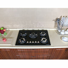 "WindMax Black 30"" NPG Tempered Glass Built-in 5 Burner Gas Hob Cooktops Cook Top"