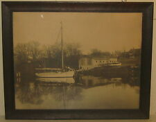 Antique NEW ENGLAND Vacation home SAILBOAT Large Format Photograph CABINET CARD