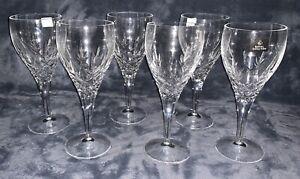 ROYAL DOULTON DORCHESTER CUT CRYSTAL LARGE 220ML WINE GLASSES SET OF SIX BOXED B
