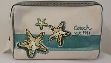 COACH BEACH MOTIF STARFISH MEDIUM COSMETIC CASE TEAL F47318--NEW