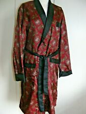 Vintage 1960s dressing-gown smoking jacket red black green paisley pattern M