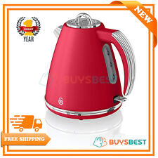 Swan 1.5 L Retro Jug Kettle with 360 Degree Rotational Base 3KW Red - SK19020RN