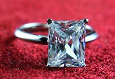 2 CT Emerald Cut Blue Aquamarine Solitaire Wedding Engagement Ring 14K Gold Over