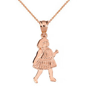Solid 10k Rose Gold Little Girl Stripe Dress Pendant Necklace