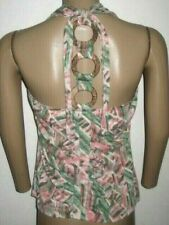Baby Phat  bamboo Mid Ring Open Back  Printed Shirt 1X PLUS SIZE