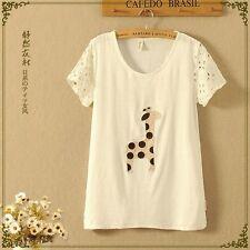 Brand New Japan Mori Style Cartoon Giraffe Hollow Sleeve Blouse Shirt Top XS