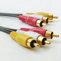 mm NEW 3 RCA 6ft 12ft 25ft 50ft Audio Video AV Cable GOLD FOR HDTV DVD VCR