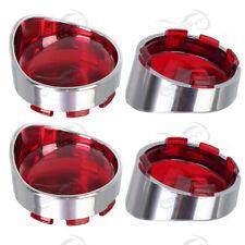 4x Bullet Turn Signal Light Visor Ring Red Lens for Harley Dyna Softail Glide