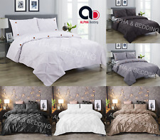 Pintuck Pinch Pleated Quilt Duvet Cover Bedding Set Single Double King & pillow