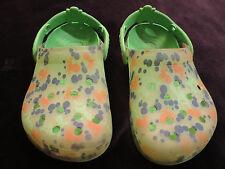 Kids Crocs Slip on Clog Green w Sharks & Octopus Water pool Beach Shoes Boy J 1