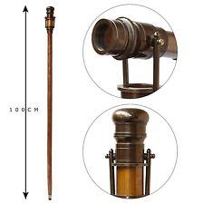 Vintage Wooden Walking Stick Cane Brass Handle Telescope Antique Portable Spy