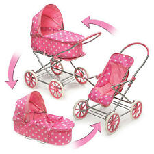 English Style 3-in-1 Doll Pram, Carrier&Stroller for 24 inch Dolls Pink Polkadot