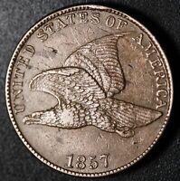 1857 FLYING EAGLE CENT - XF/AU