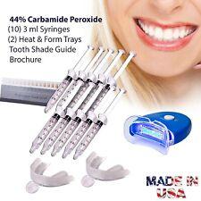 Teeth Whitening Kit 10 ea Tubes 2 Trays Bonus White LED Light Best 44% CP Gel