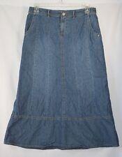"""J JILL Long Denim Skirt Sz 10 Modest No Slit 34"""" Waist Paneled A-Line Maxi EUC"""