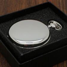 Luxury Silver Smooth Quartz Pocket Watch Necklace Pendant + Gift Box Christmas