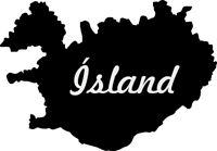 2x Auto Aufkleber Island Iceland Islande konturg. Sticker 11cm Decal die-cut