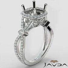 Cushion Halo U Cut Prong Diamond Engagement Ring Semi Mount Platinum 0.65 Carat