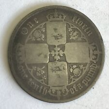 Victoria ANTICO vittoriano ARGENTO 1853 FIORINO moneta Gotico mdcccliii