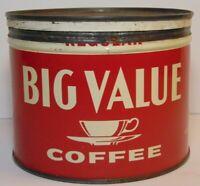 Vintage 1950s BIG VALUE COFFEE KEYWIND COFFEE TIN 1 ONE POUND ST. LOUIS MISSOURI