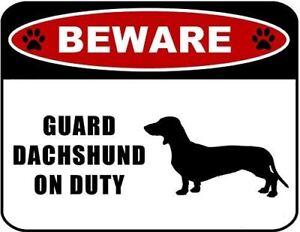Beware Guard Dachshund (silhouette) on Duty Laminated Dog Sign