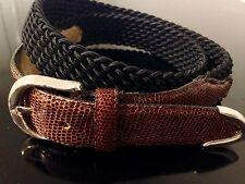 BULLOCK & JONES Brown Genuine LIZARD Elastic Braided Silver Buckle Belt - 34