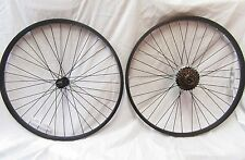 "26"" MOUNTAIN BIKE WHEELS BLACK RIM & SPOKES & 6 Speed Shimano Freewheel"
