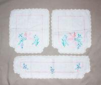 Vintage White Linen Doily Doilies 3 Pc Set Cross-Stitch Pink Flower EUC