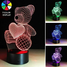 LED illusion TEDDY BEAR 7 Color table Night Light Lamp Birthday Gift Holiday
