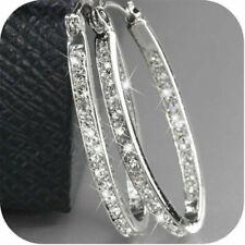 Women's 9K Gold Filled Silver CZ Crystal Big Hoop Earrings Jewelry Gift