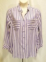 Melissa McCarthy Seven7 Purple Stripes Long Sleeve Blouse Shirt Plus Size 1X 2X