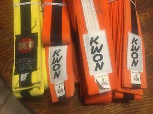 Karate Taekwondo belt - Orange belt-3  Yellow-1 KWON  KI all size 4  Lot of Four