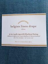 "Pottery Barn Belgian Linen Panel Drape Curtain Blackout Riviera Blue 96"" #4510"