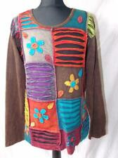 FAIR TRADE ETHNIC HIPPY FESTIVAL PATCHWORK DESIGN LONG SLEEVE TOP L
