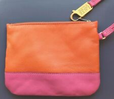 Laudi Vidni Leather Orange And Pink Wristlet With Gold Signed Clasp