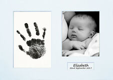 Hand print Footprint Kit Personalised Baby Shower Gift Christening White Mount