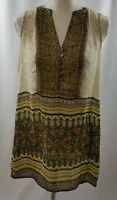 Neiman Marcus Nic + Zoe Ivory Olive Brown Tunic Size Small Sleeveless Top Blouse