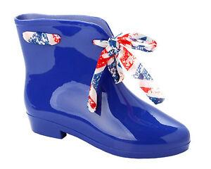 WOMENS BLUE CHELSEA WELLINGTON RAIN WELLIES PIXIE SHORT ANKLE BOOTS LADIES SIZE