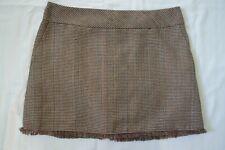 ladies next tailoring brown & cream check tweed skirt tassel hem 14