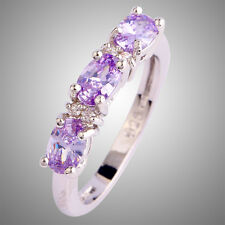Tourmaline & White Topaz Gemstone Silver Ring Size L N P R T V Y Oval Cut Lover