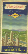 1938 Sunoco Pennsylvania Vintage Road Map