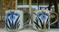 """Set of 2 Vintage Speckled Pottery Glazed Coffee Cups Mugs with Iris Floral 3.5"""""""