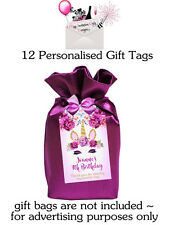 UNICORN BIRTHDAY MAGICAL FLORAL GOLD  GIFT THANK YOU TAGS (SET 12) ~ PURPLE