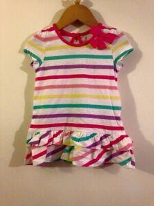 Baby Girls Bright Stripe Tunic Dress Brand New 9/12 12/18 18/24 Months