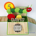 Name & age Personalized handmade Birthday card for kids baby hungry caterpillar