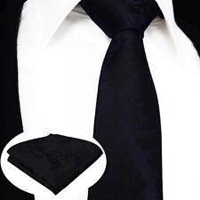 Homme floral tie-vente-satin noir & violet foncé-silk premium paisley cadeau