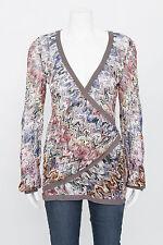 MISSONI Gray Multi Color Knit Wrap V Neck Long Sleeve Cardigan Blouse Top 8/40