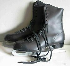 Ice Skates Men's Pre Owned Imperial Figure Skating Black Faux Leather Free Sh